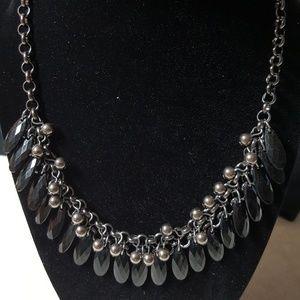 Silver & Black Bead Necklace